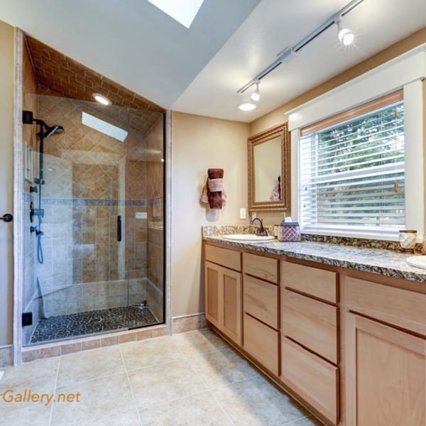 Master bathroom interior with large double sink vanity