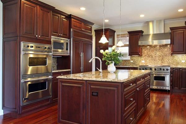 Kitchen with cherry wood cabinetry