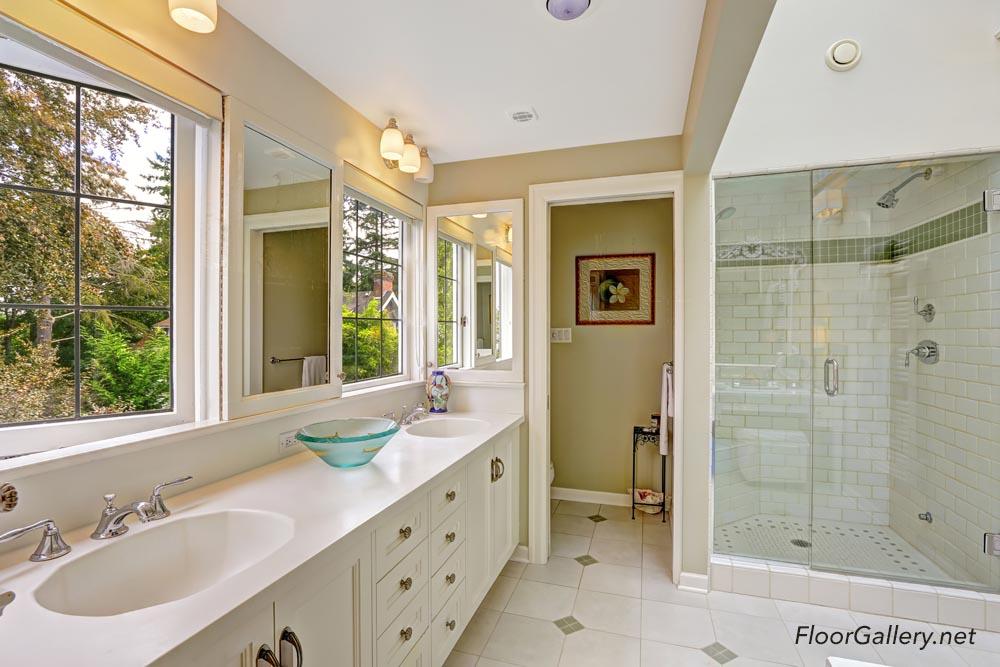 Spacious Bright Bathroom With Glass Door Shower Floor Gallery - Mission viejo bathroom remodeling