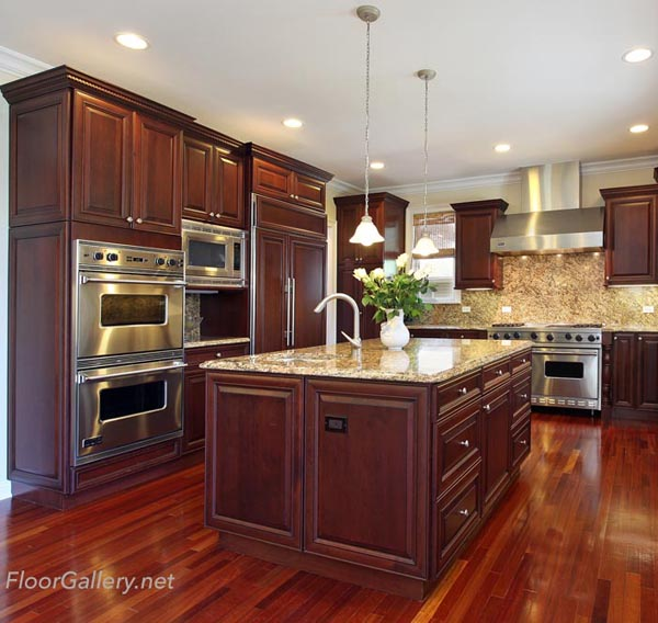 Kitchen With Cherry Wood Cabinetry Floor Gallery